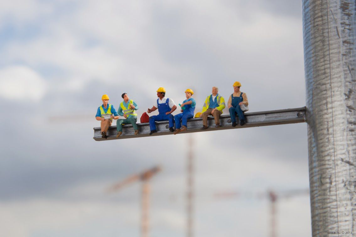 photographs miniature human figurines Construction Workers in Paris
