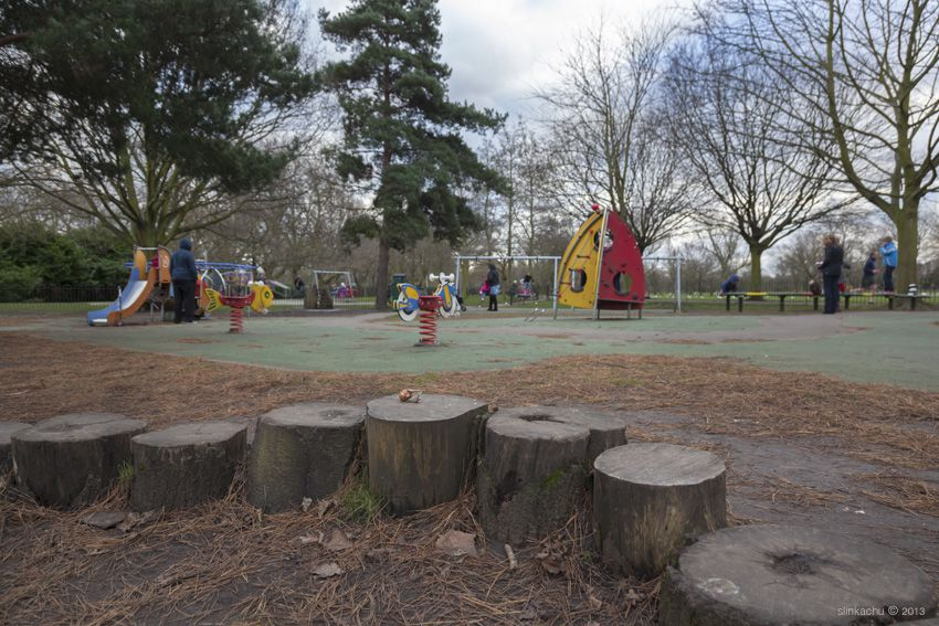 photographs miniature human figurines Play Fighting in Wandsworth Common