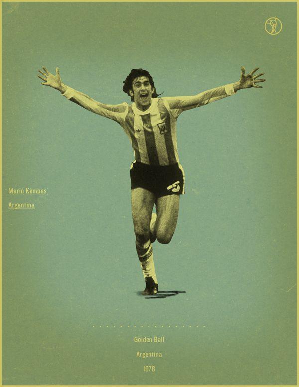 Mario Kempes Argentina 1978 world cup fifa golden ball winner poster illustation
