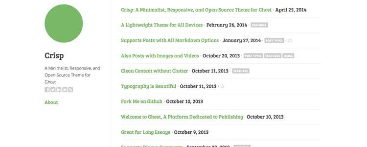 web designers freebie Crisp Theme Ghost may