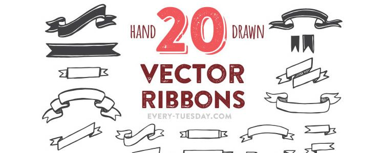 web designers freebie Hand Drawn Vector Ribbons AI EPS may