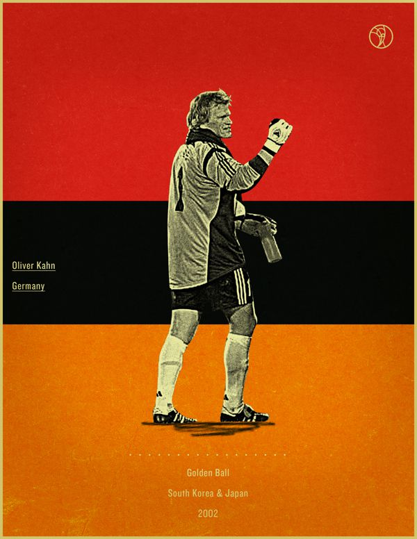 world cup fifa golden ball winner poster illustationOliver Khan Japan South Korea 2002