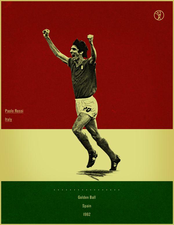 Paolo Rossi Spain 1982 world cup fifa golden ball winner poster illustation