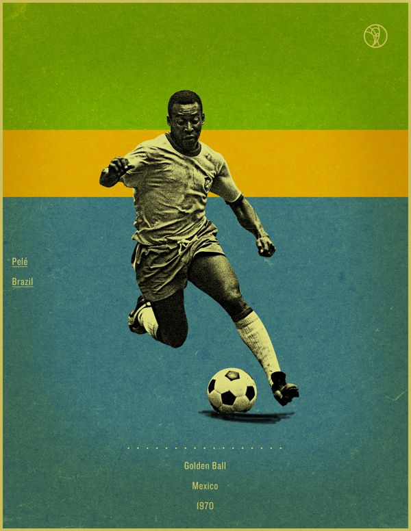 Pele Mexico 1970 world cup fifa golden ball winner poster illustation