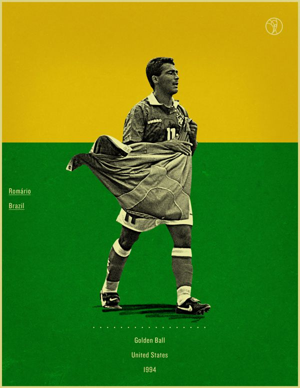 Romario USA 1994 world cup fifa golden ball winner poster illustation