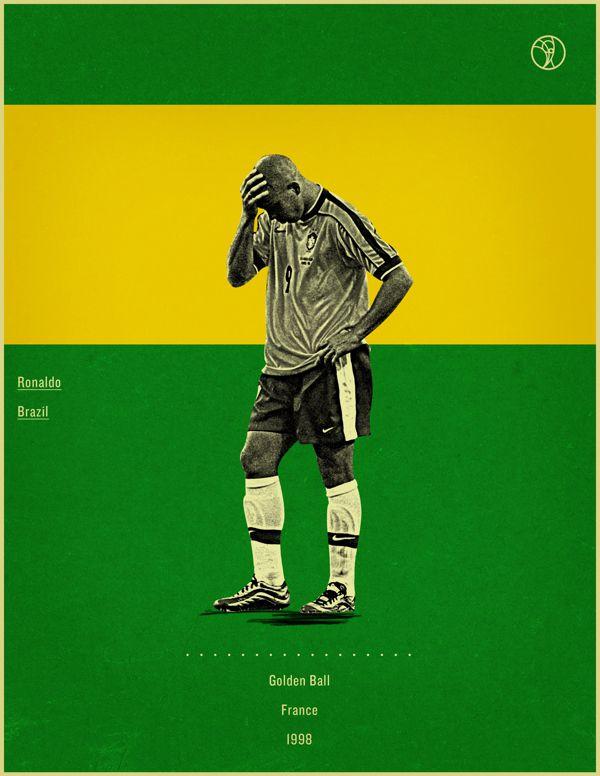 Ronaldo France 1998 world cup fifa golden ball winner poster illustation