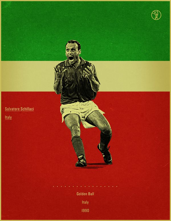 Slavattore Schillaci Italy 1990 world cup fifa golden ball winner poster illustation