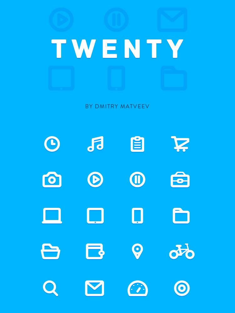 TWENTY icon set full size beautiful icon set freebie