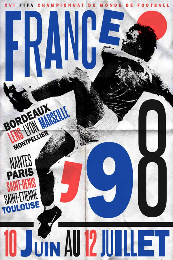 France 1998 world cup fifa redesigned official poster illustation