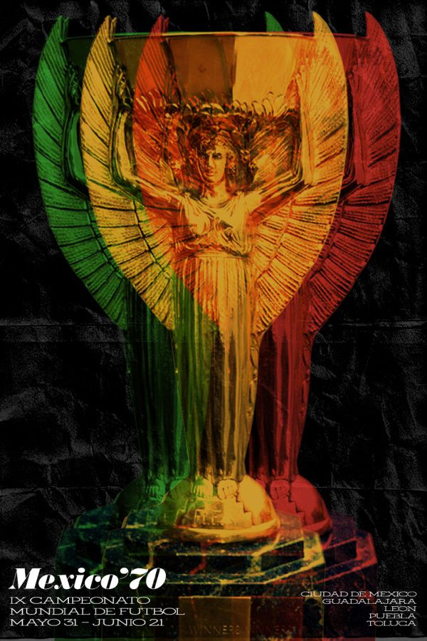Mexico 1970 world cup fifa redesigned official poster illustation