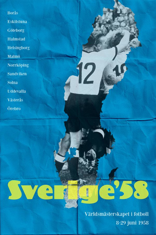 Sweden 1958 world cup fifa redesigned official poster illustation