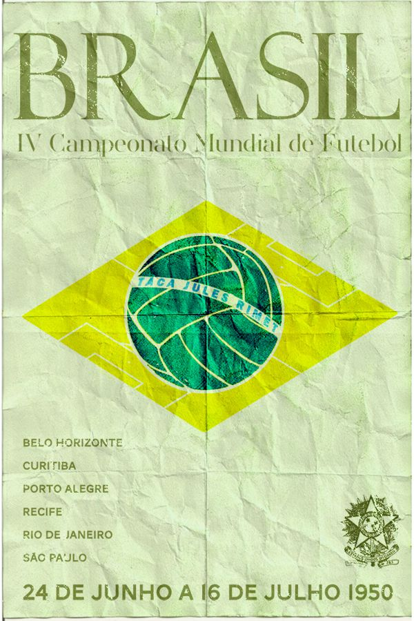 Brazil 1950 world cup fifa redesigned official poster illustation