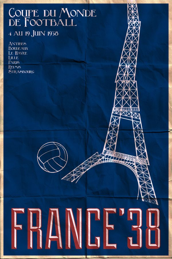France 1938 world cup fifa redesigned official poster illustation