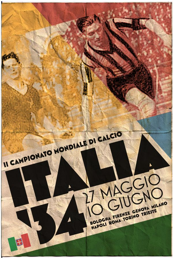 Italy 1934 world cup fifa redesigned official poster illustation