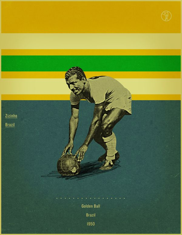 Zizinho brazil 1950 world cup fifa golden ball winner poster illustation