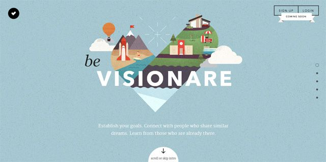 Be Visionare website above is an excellent example of a beautiful full screen illustration