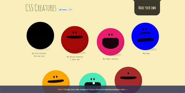 CSS Creatures site displays creatures made entirely from HTML5 and CSS3