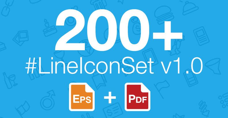 LineIconSet freebie preview hero featured icons 200 thin line-styled