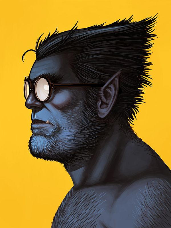 mike mitchell poster illustrated marvel superhero beast