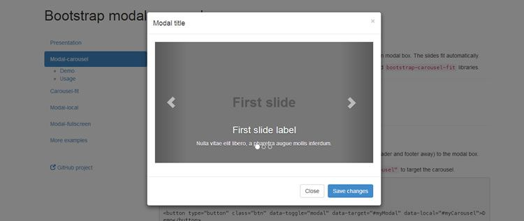 collection plugins displaying carousel fullscreen modal window extending Bootstrap