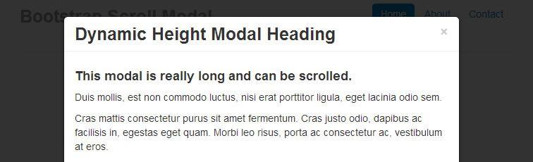 modificación Bootstrap Modal plugin altura modal ilimitada desplazamiento de página completa