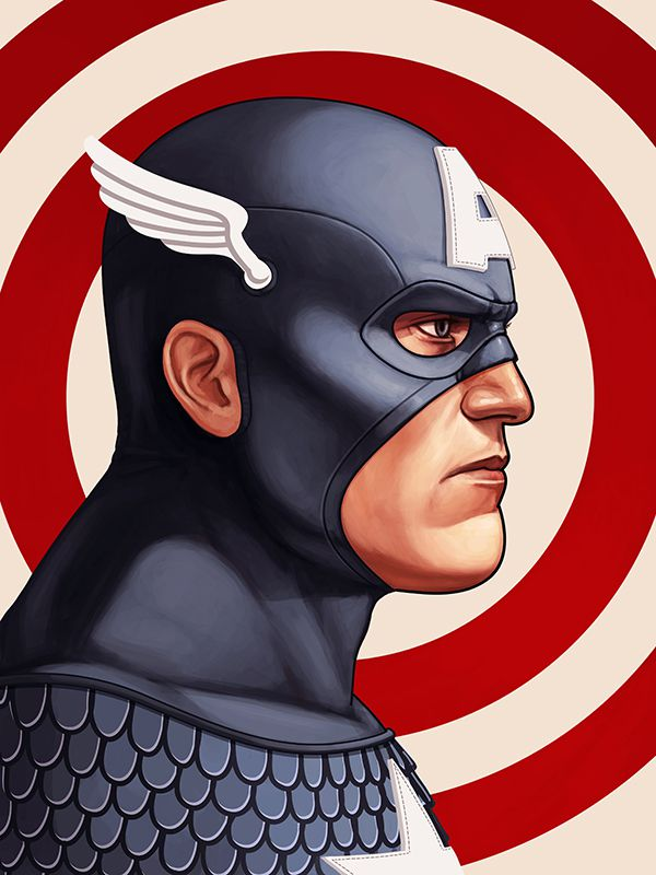 mike mitchell poster illustrated marvel superhero captain america