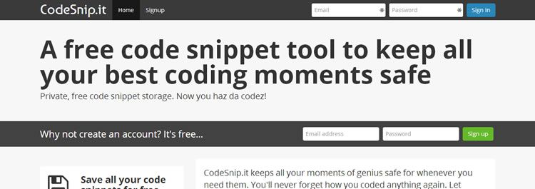 CodeSnip is a free web-based tool for safely storing all of your precious code snippets