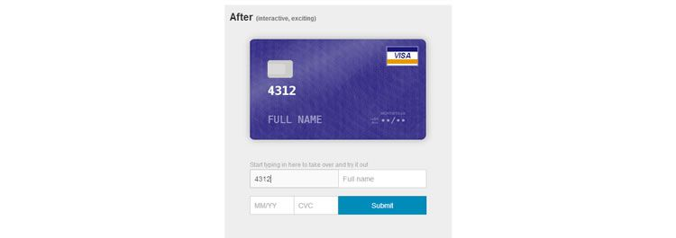 Card is a drop in addition to your current credit card form that creates a pure-CSS credit card