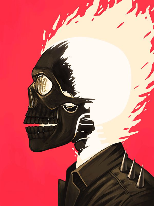 mike mitchell poster illustrated marvel superhero ghostrider