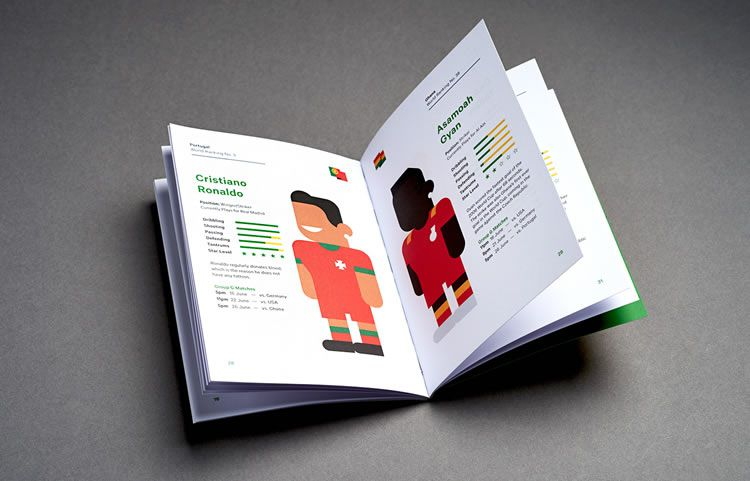 inside book gol world cup brazil 2014 illustration cristiano ronaldo portugal gyan ghana