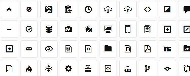 Octicons 180 Icons Web Font