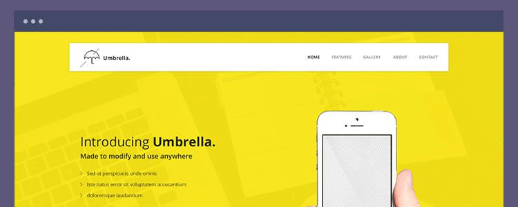 Umbrella App Landing Page PSD