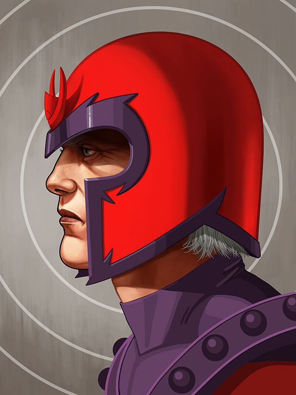 mike mitchell marvel illustrated poster superhero magneto