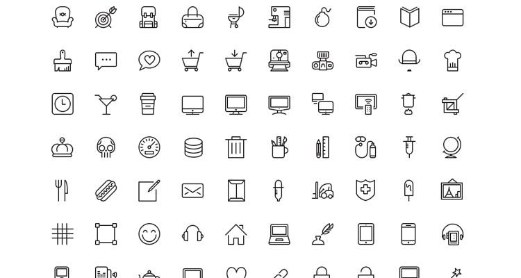 iOS7 Vector Icons 100 icons Photoshop Custom Shape PNG Webfont formats freebie