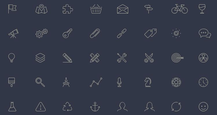 Elegant Themes Line-Style Icons 100 icons AI SVG PNG Webfont formats freebie