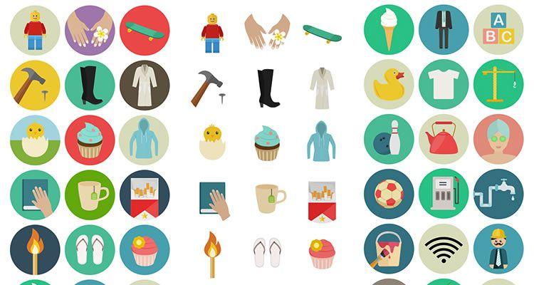 Flat Icon Set 60 icons PNG SVG EPS PSD AI free