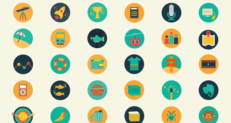 Meroo Flat-Styled Icon Set 110 icons PSD format freebie