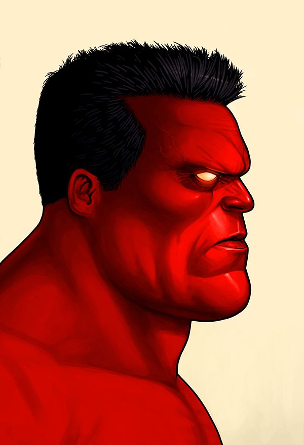mike mitchell marvel illustrated poster superhero Red Hulk