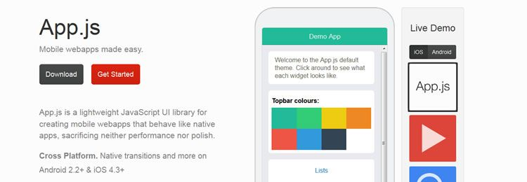 App.js is a lightweight JavaScript UI library for creating mobile webapps that behave like native apps