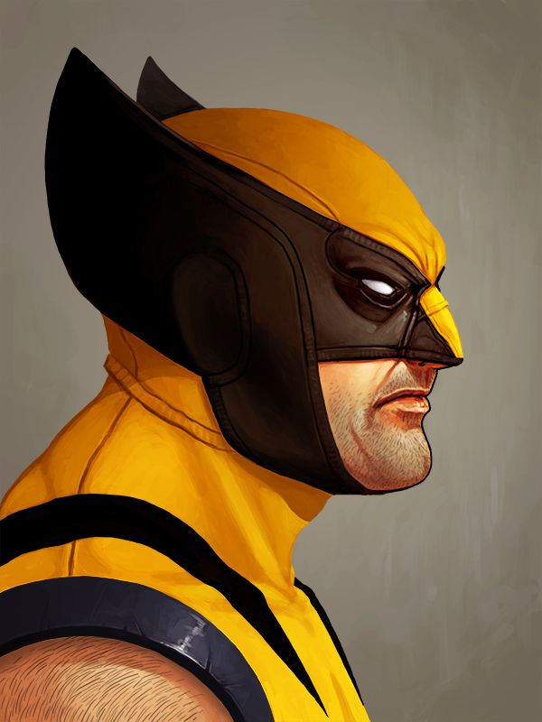 mike mitchell marvel illustrated poster superhero wolverine