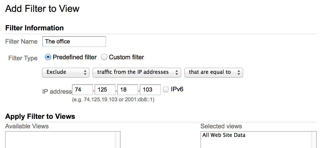 Filtering internal traffic in Google Analytics
