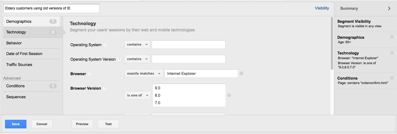Creating an advanced segment in Google Analytics
