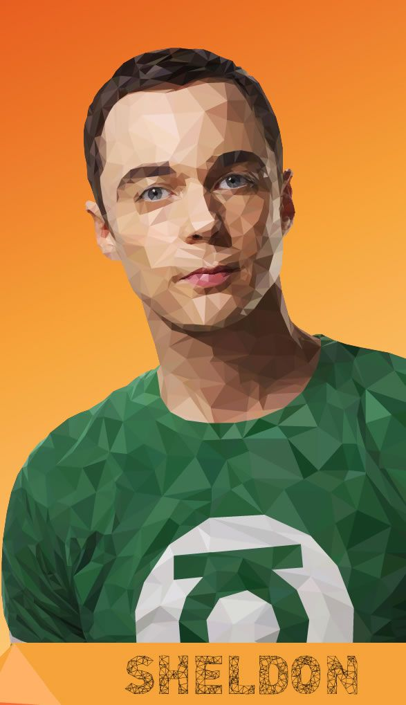 sheldon big bang theory low poly illustration