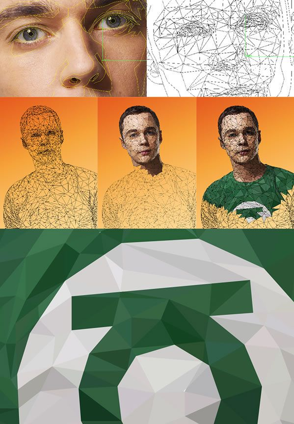 sheldon making of big bang theory geometric illustration