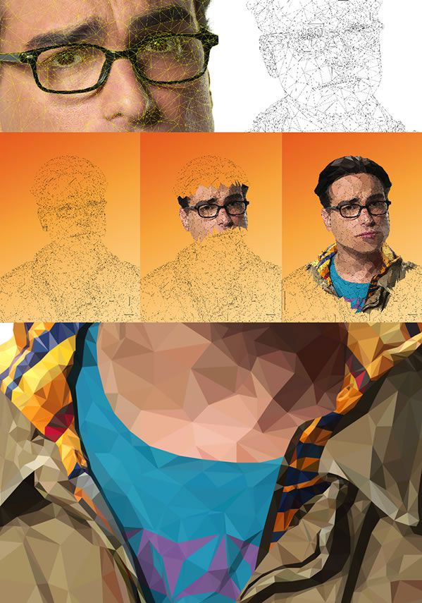 leonard making of big bang theory geometric illustration