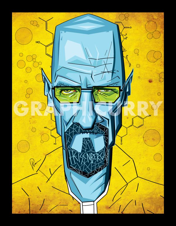 Walter White from Breaking Bad tv movie  cartoon satrical humor