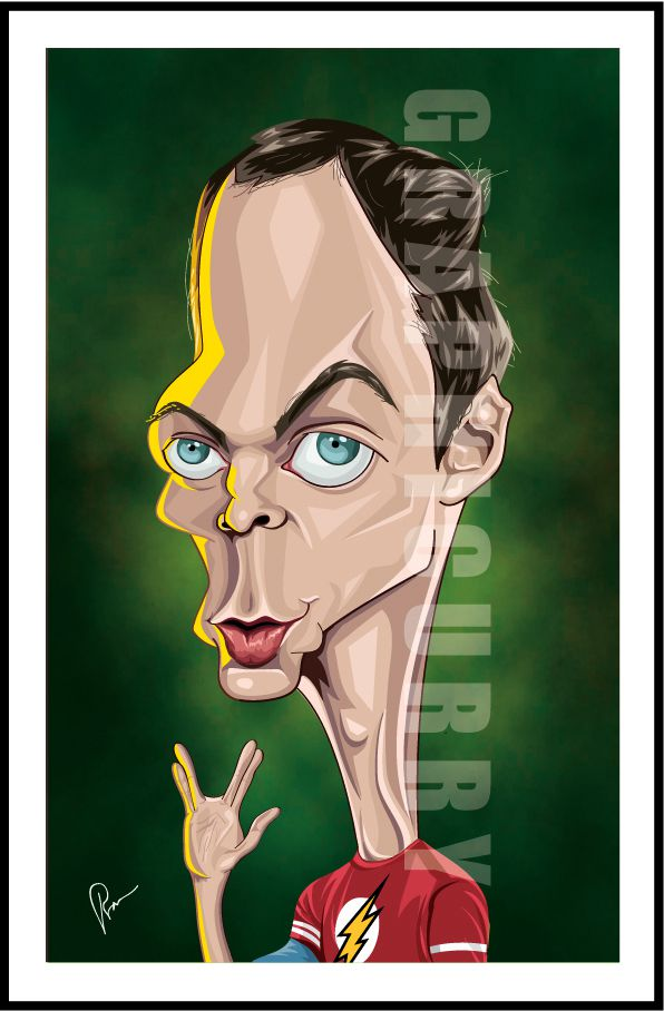 Sheldon Cooper from The Big Bang Theory tv movie caricature illustrated caricatures cartoon satrical humor