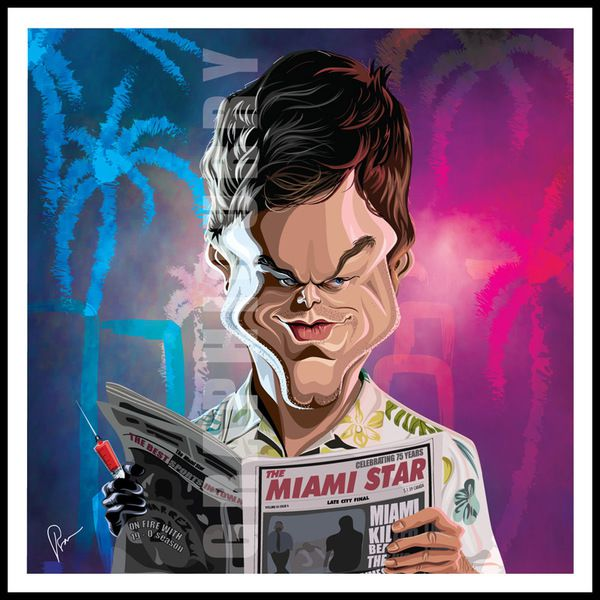 Dexter tv movie caricatures cartoon humor