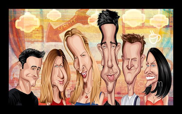 Friends tv movie caricature illustrated caricatures cartoon satrical humor