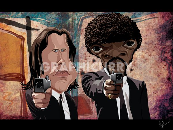 Pulp Fiction tv movie caricatures cartoon humor